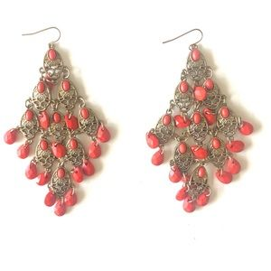 NWOT Forever 21 Coral Statement Earrings
